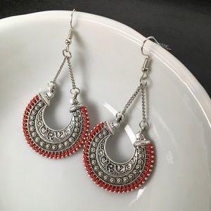 New, Boutique Bohemian Open Fan Etched Earrings